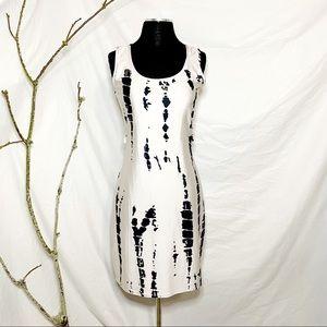 White and black Tye Dye Print Body-con Dress M
